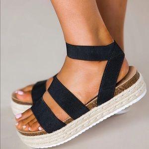 Black Espadrilles Platform Two Strap Sandals Twine